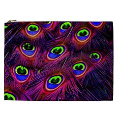 Peacock Feathers Color Plumage Cosmetic Bag (xxl)