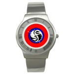 YIN YANG DRAGONS Art Design Tai Chi Round Steel Watch