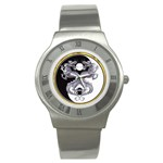 YIN YANG DRAGONS Tai Chi Art Design Round Steel Watch