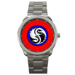 YIN YANG DRAGONS Art Design Tai Chi Sport Metal Watch