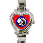 YIN YANG DRAGONS Art Design Tai Chi Heart Charm Watch
