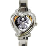 YIN YANG DRAGONS Tai Chi Art Design Heart Charm Watch