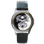 YIN YANG DRAGONS Tai Chi Art Design Round Metal Watch