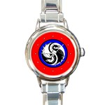 YIN YANG DRAGONS Art Design Tai Chi Round Charm Watch