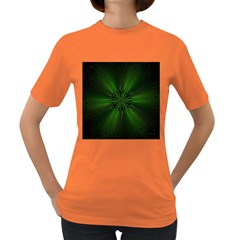 Green Fractal Art Artistic Pattern Women s Dark T Shirt