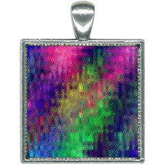 Background Abstract Art Color Square Necklace
