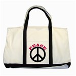 PEACE Handbag Peaceful No War Two Tone Canvas Tote Bag