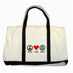 PEACE LOVE EARTH Handbag Gifts Two Tone Canvas Tote Bag