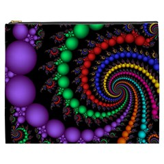 Fractal Background With High Quality Spiral Of Balls On Black Cosmetic Bag (xxxl) by Jojostore