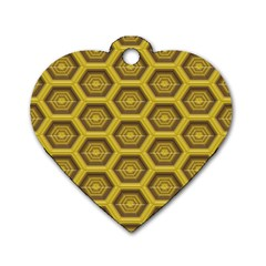 Golden 3d Hexagon Background Dog Tag Heart (one Side)