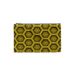 Golden 3d Hexagon Background Cosmetic Bag (small) by Jojostore