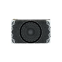 Black Lace Kaleidoscope On White Cosmetic Bag (small)
