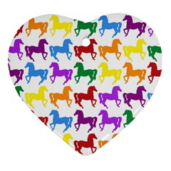 Colorful Horse Background Wallpaper Ornament (heart)