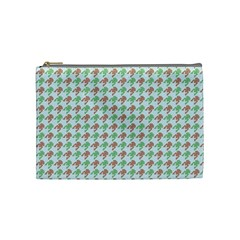 Amphibians Hopping Houndstooth Pattern Cosmetic Bag (medium)
