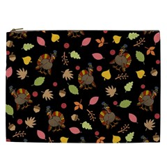 Thanksgiving Turkey Pattern Cosmetic Bag (xxl) by Valentinaart