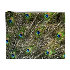 Peacock Feathers Color Plumage Green Cosmetic Bag (xl) by Sapixe