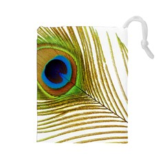 Peacock Feather Plumage Colorful Drawstring Pouch (large)