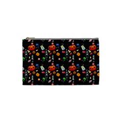 Halloween Treats Pattern Black Cosmetic Bag (small)