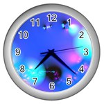 Love In Action, Pink, Purple, Blue Heartbeat Wall Clock (Silver)