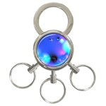 Love In Action, Pink, Purple, Blue Heartbeat 3-Ring Key Chains Front