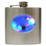 Love In Action, Pink, Purple, Blue Heartbeat Hip Flask (6 oz)