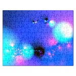 Love In Action, Pink, Purple, Blue Heartbeat Rectangular Jigsaw Puzzl
