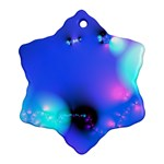Love In Action, Pink, Purple, Blue Heartbeat Snowflake Ornament (Two Sides) Back