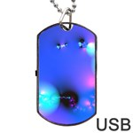 Love In Action, Pink, Purple, Blue Heartbeat Dog Tag USB Flash (Two Sides) Front