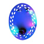 Love In Action, Pink, Purple, Blue Heartbeat Oval Filigree Ornament (Two Sides) Back