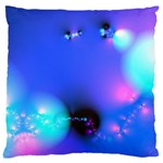 Love In Action, Pink, Purple, Blue Heartbeat Large Cushion Case (Two Sides) Back