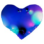 Love In Action, Pink, Purple, Blue Heartbeat Large 19  Premium Heart Shape Cushions Back