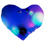Love In Action, Pink, Purple, Blue Heartbeat Large 19  Premium Flano Heart Shape Cushions