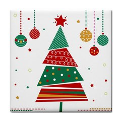 Christmas Tree Decorated Tile Coasters