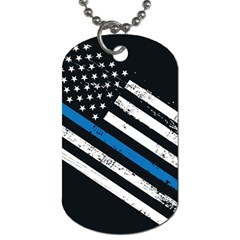 Usa Flag The Thin Blue Line I Back The Blue Usa Flag Grunge On Black Background Dog Tag (one Side) by snek
