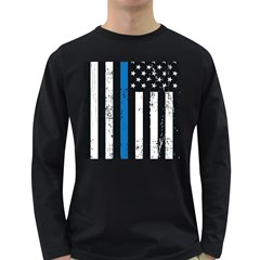 I Back The Blue The Thin Blue Line With Grunge Us Flag Long Sleeve Dark T Shirt by snek