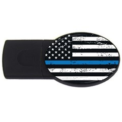 I Back The Blue The Thin Blue Line With Grunge Us Flag Usb Flash Drive Oval (2 Gb) by snek