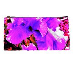 Abstract Ultra Violet Purple Iris On Red And Pink Pencil Cases by myrubiogarden