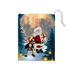 Merry Christmas, Santa Claus With Funny Cockroach In The Night Drawstring Pouch (medium) by FantasyWorld7