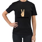 I Love Peace Peaceful Rare Casual Women s Black T-Shirt