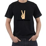 I Love Peace Peaceful Rare Casual Men s Black T-Shirt