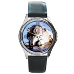 wolf round Round Metal Watch