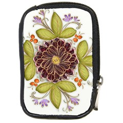 Flowers Decorative Flowers Pattern Compact Camera Leather Case by Pakrebo