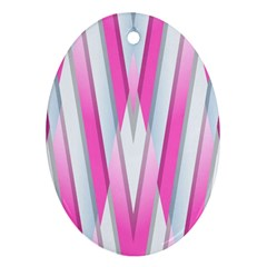 Geometric 3d Design Pattern Pink Oval Ornament (two Sides)