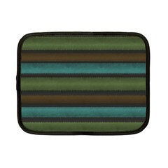 Stripes Teal Yellow Brown Grey Netbook Case (small) by BrightVibesDesign