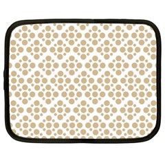 Floral Dot Series   Almond Buff And White Netbook Case (xxl) by TimelessFashion