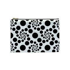 Dots Round Black And White Cosmetic Bag (medium)