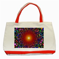 Color Background Structure Lines Polka Dots Classic Tote Bag (red)