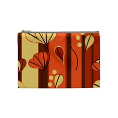 Amber Yellow Stripes Leaves Floral Cosmetic Bag (medium)