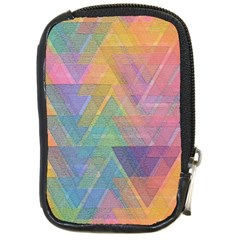 Triangle Pattern Mosaic Shape Compact Camera Leather Case by Pakrebo