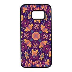 Kaleidoscope Background Design Purple Samsung Galaxy S7 Black Seamless Case by AnjaniArt